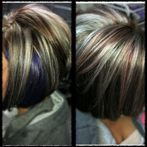 platinum highlights with brown hair platinum blonde and red highlights dark brown base purple