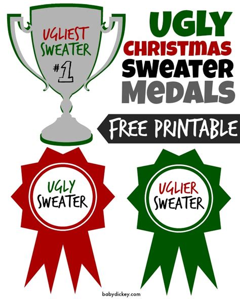 free ugly sweater printables sweater free printable medals for the top 3 sweaters uglier