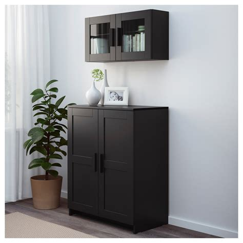 armoire with shelves and doors brimnes cabinet with doors black 78x95 cm ikea