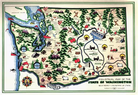 map of washington state usa large detailed industrial illustrated map of