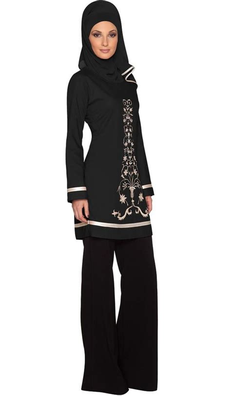 Tunik Blouse Muslim Lamia 3in1 black floral embroidered tunic islamic clothing for islamic clothing at