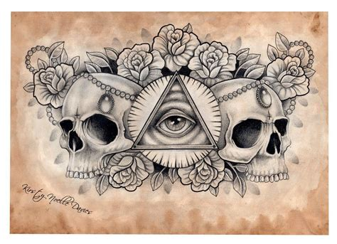 tattoo designs chest piece illuminati and skull chest design scanned by