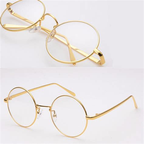 Metal Frame Lens Glasses gold metal vintage eyeglass frame clear lens