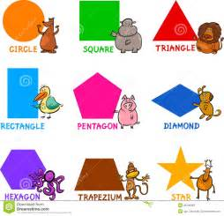 Simple geometric shapes basic geometric shapes with cartoon animals