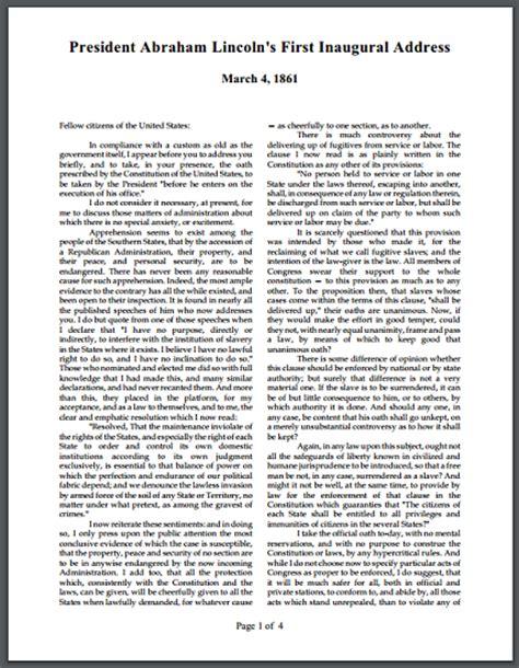 abraham lincoln inaugural address click here to print pdf