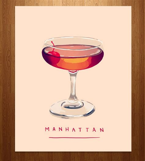 Manhattan Cocktail Art Print Cocktails The O Jays And