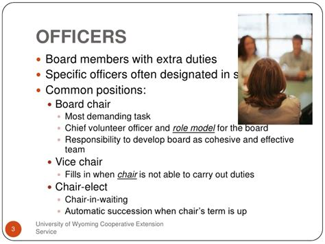 Officers Responsibilities by Board Officer Responsibilities