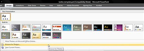 browse for themes powerpoint 2007 create twitter backgrounds using powerpoint 2007