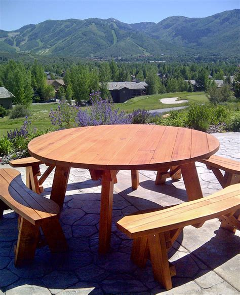 picnic tables with detached benches round wooden picnic table with detached benches