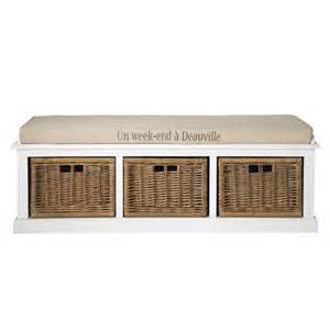banc de rangement en bois et coton blanc l 130 cm comptoir