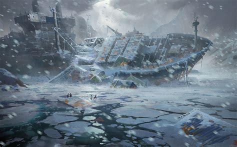 frozen wallpaper in malaysia apocalyptic dark horror winter snow ship wreck ruins ice