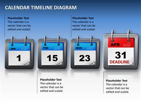 Calendar Slides Powerpoint Slide Calendar Timeline Diagram 3d Blue