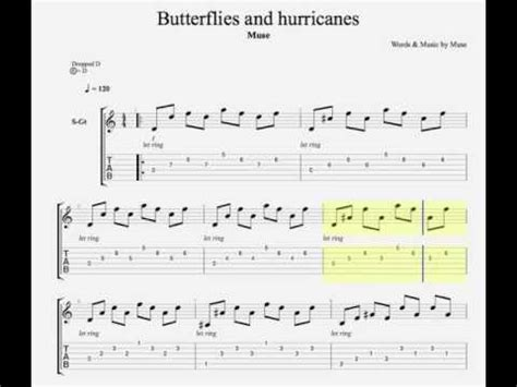 butterflies and hurricanes muse tab butterflies and hurricanes by muse guitar tab