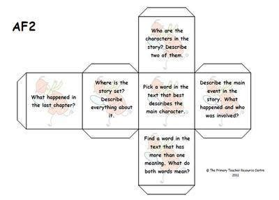 printable guided reading dice key stage 2 reading assessment focuses