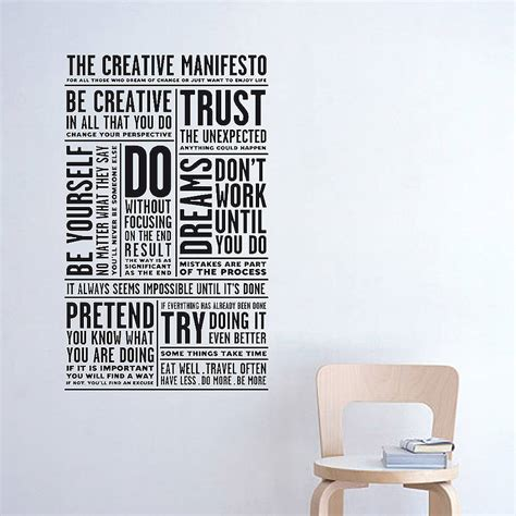 creative wall stickers creative manifesto wall sticker by artful notonthehighstreet