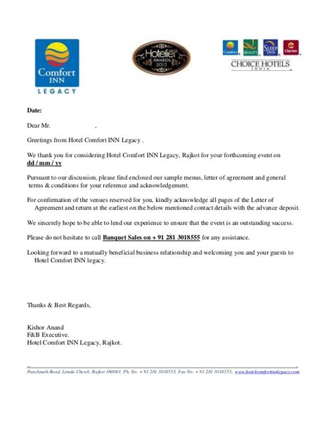 Hotel Booking Cancellation Letter Format letter of agreement bqt