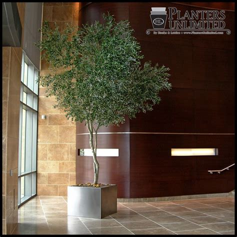 custom artificial indoor tree   sleek stainless steel
