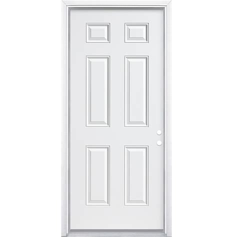 prehung steel exterior doors shop masonite 6 panel insulating right inswing