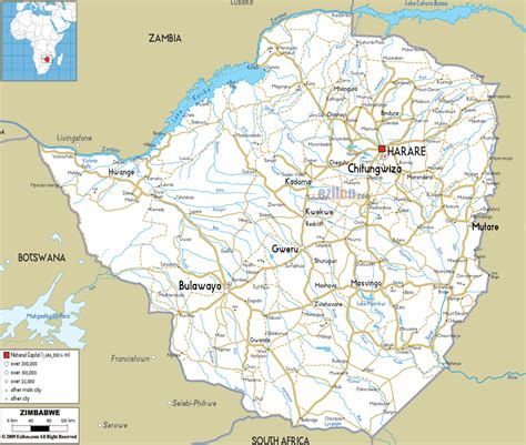 road map  zimbabwe ezilon maps
