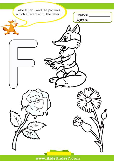 color with f color with f letter f worksheet for preschool and