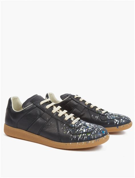 paint splatter sneakers maison margiela black paint splatter pollock sneakers in