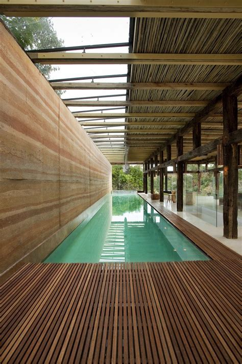 lap pool designs indoor lap pool with rammed earth wall at the dalrymple