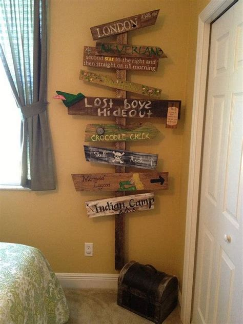 peter pan bedroom customized directional sign wooden mile marker peter pan