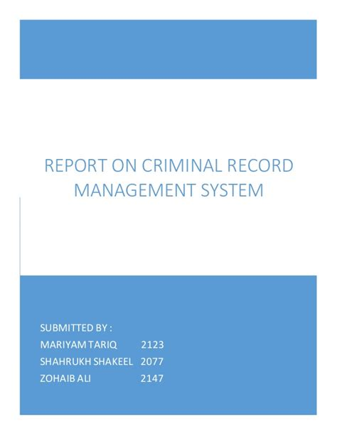 Database For Criminal Record Management System Criminal Record Management System Report