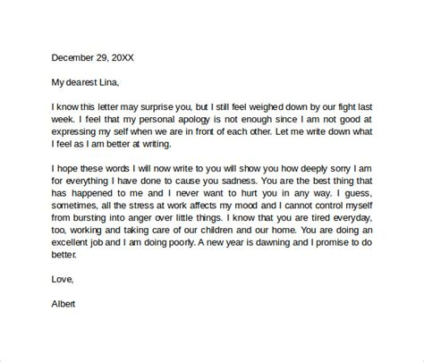 Letter For Husband Sle Apology Letter 8 Documents In Pdf Word