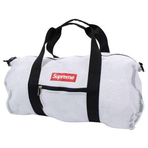supreme bag supreme mesh duffle bag white