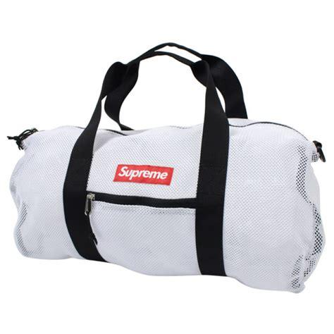 supreme bag supreme mesh duffle bag white