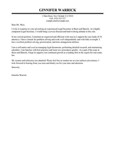 legal secretary cover letter exles law cover letter