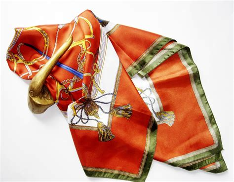 hermes style s scarf vintage rust and blue by