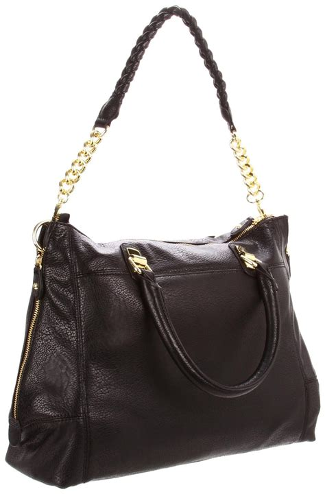 Steve Madden Purse by Steve Madden Black Bsocial Weave Chain Satchel Handbag Purse Shoulder Bag