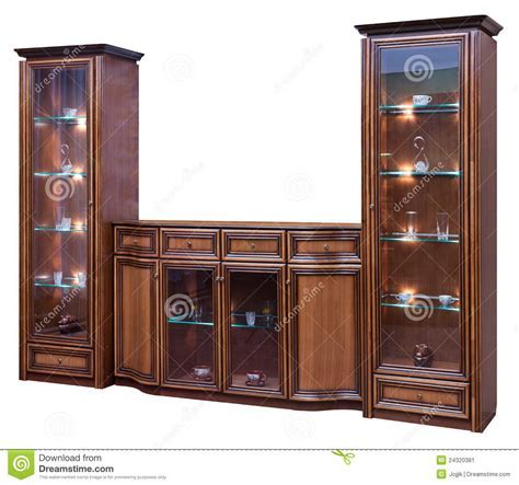 Wooden Cupboard With Glass Doors Stock Image   Image: 24320381