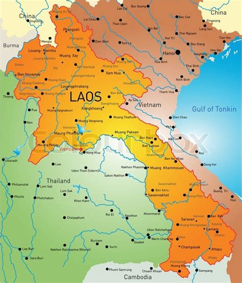map of laos vector detailed map of laos country stock vector colourbox