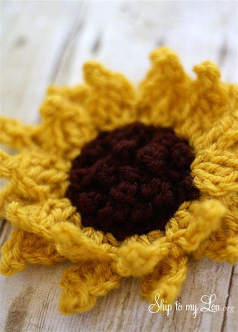 pattern would rather beautiful free sunflower crochet pattern over at the skip