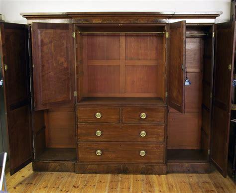 antique mahogany breakfront wardrobe georgian wardobe