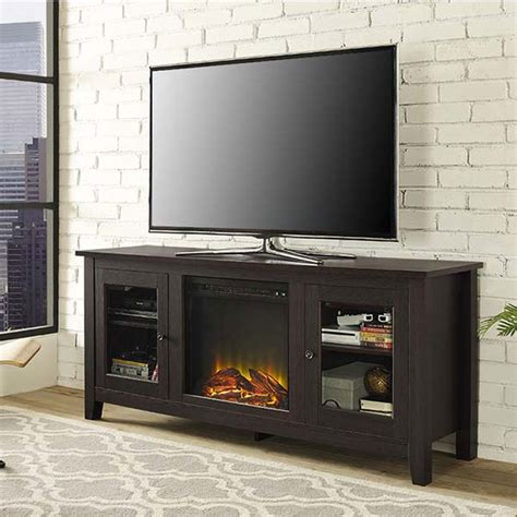 60 Inch Tv Fireplace by Walker Edison 60 Inch Tv Stand With Electric Fireplace Espresso W58fp4dwes
