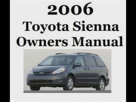 service and repair manuals 2012 toyota sienna free book repair manuals 2006 toyota sienna owners manual youtube