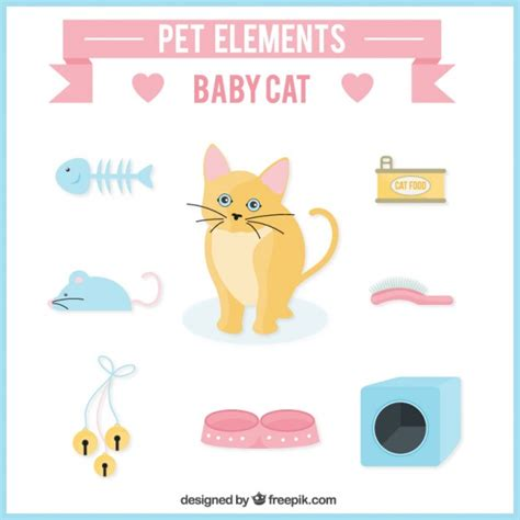Kitten Cat Food Premium 1 pet elements for kitten vector premium