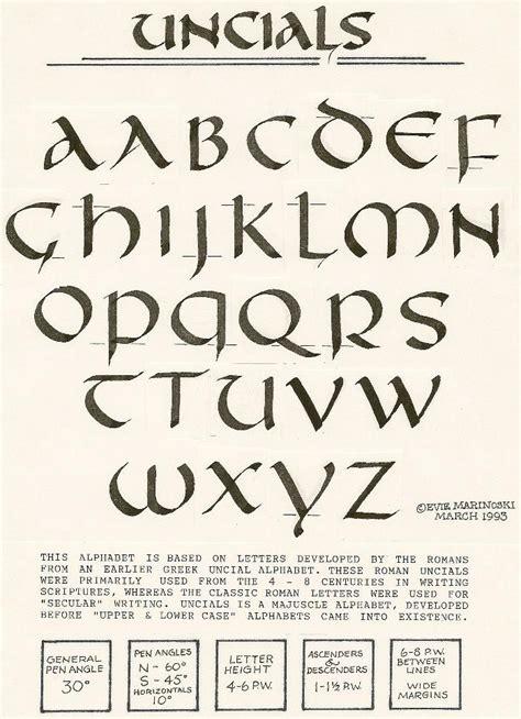 unical lettere uncial alphabet calligraphy