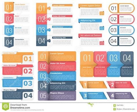 design elements of text media design elements with numbers and text cartoon vector