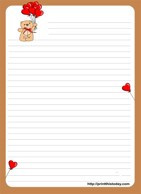 printable letter writing paper with lines stationery