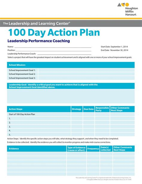100 Day Plan Template Free school improvement 100 day plan select a goal for school improvement that will make a