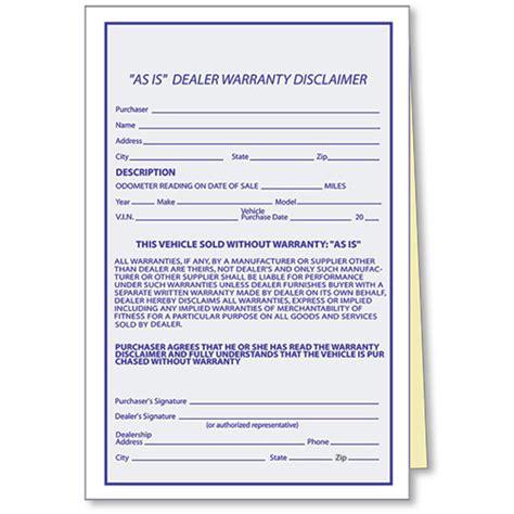 as is warranty form as is dealer warranty disclaimer as is forms dealer