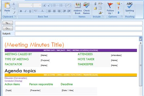 outlook meeting minutes template pro meeting minutes template for email dotxes
