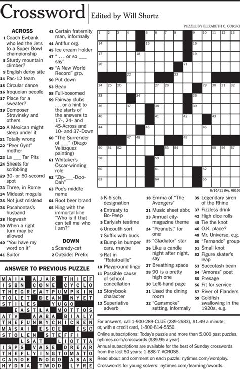 Nyt Crossword Printable