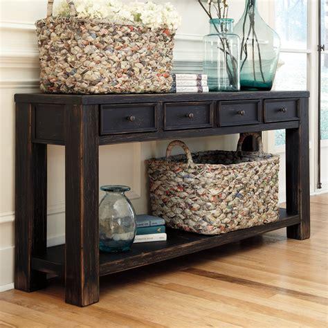 gavelston sofa console table signature design by gavelston rectangular black