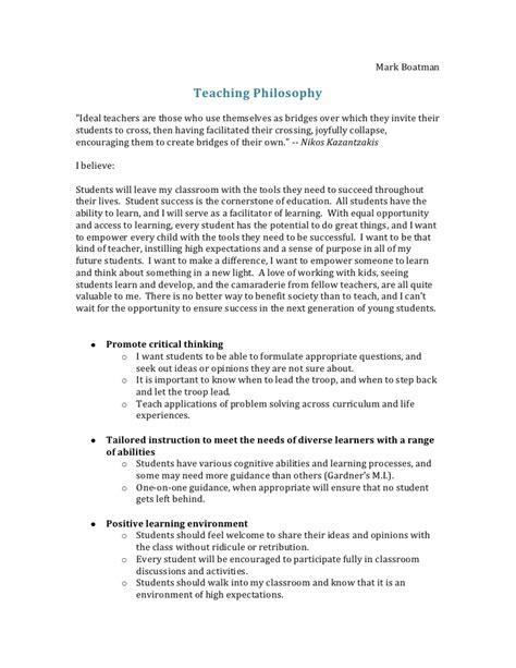 Teaching Essay Format by Teaching Philosophy Outline